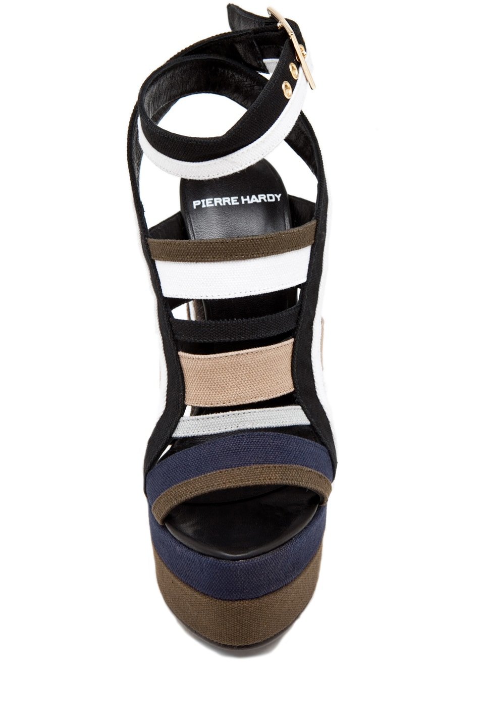 Image 4 of Pierre Hardy Canvas Multi Colored Wedge in Multi Kaki