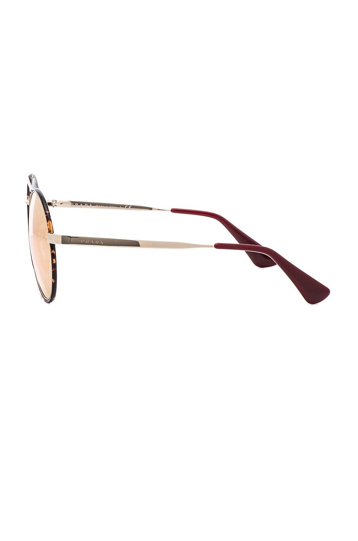 Image 3 of Prada Round Sunglasses in Pale Gold & Dark Havana