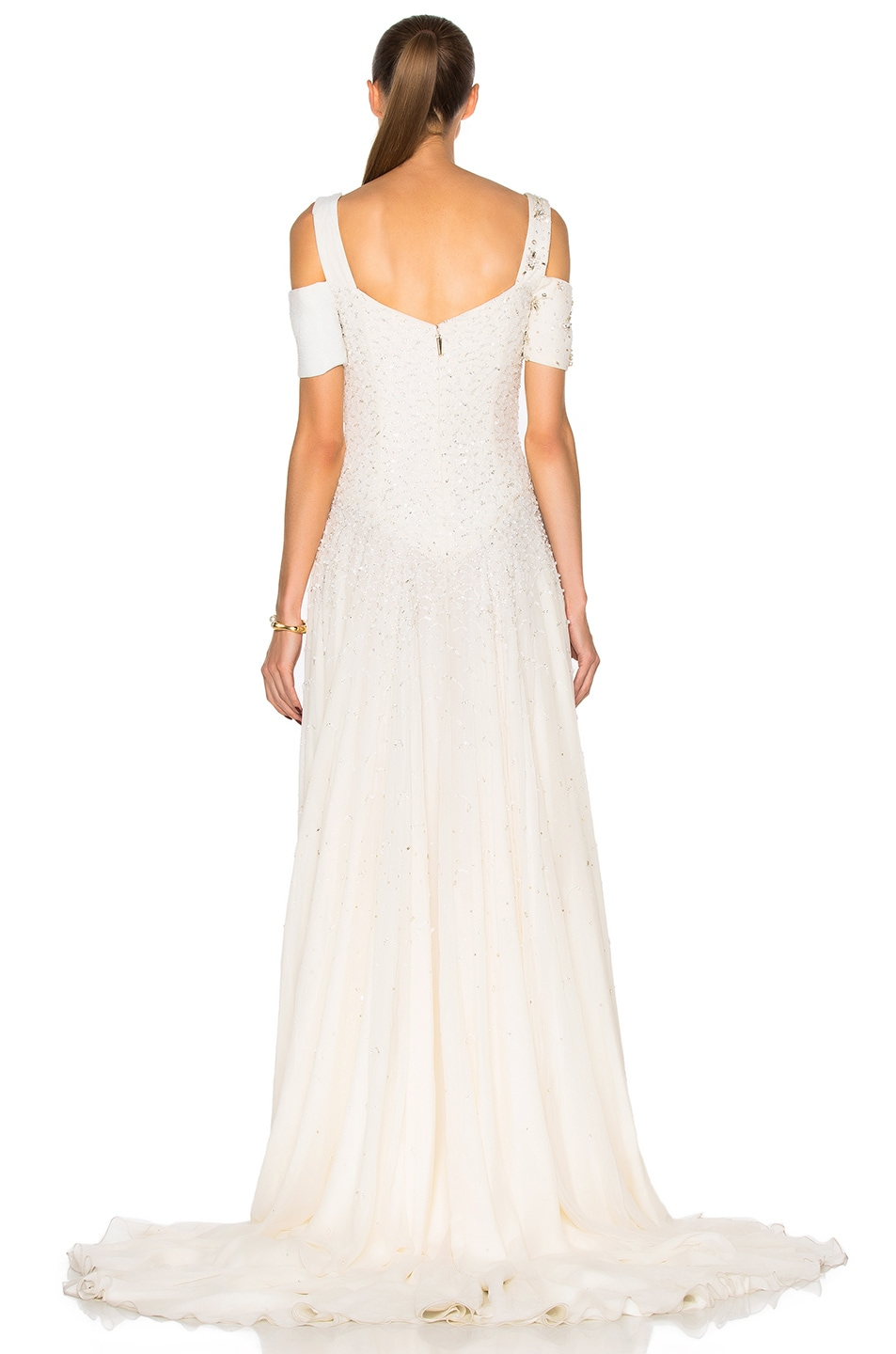 Image 4 of Prabal Gurung Embroidered Cold Shoulder Gown in Snow