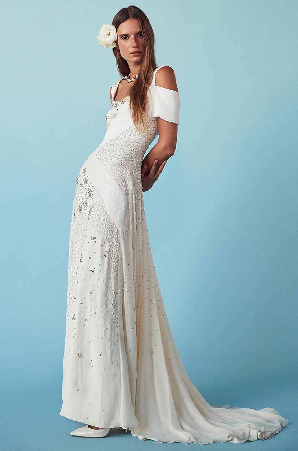 Image 5 of Prabal Gurung Embroidered Cold Shoulder Gown in Snow