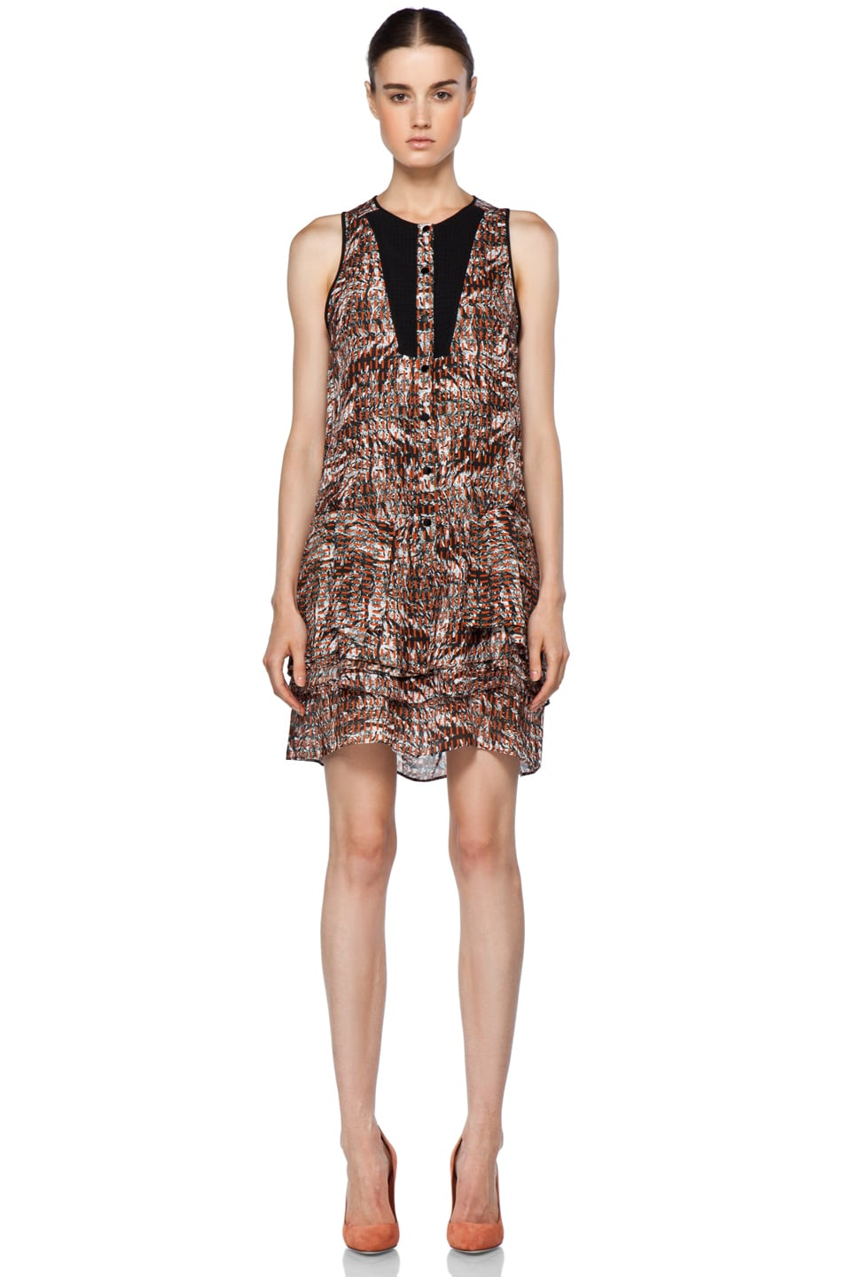 Image 1 of Proenza Schouler Sleeveless Button Up Dress in Tangerine Line