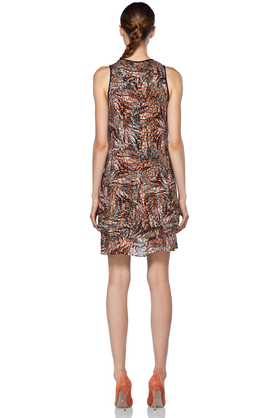 Image 4 of Proenza Schouler Sleeveless Button Up Dress in Tangerine Line