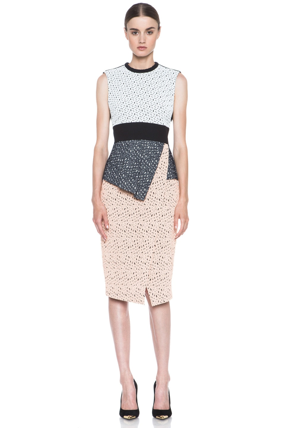 Image 1 of Proenza Schouler Irregular Lace Peplum Dress in Peach & Cream
