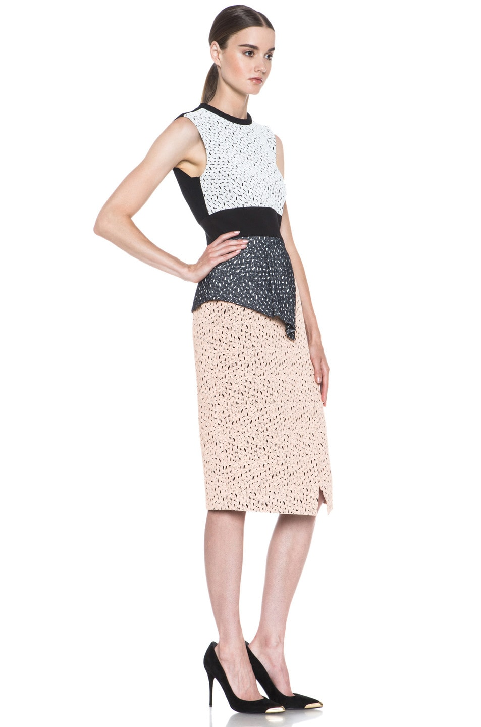 Image 3 of Proenza Schouler Irregular Lace Peplum Dress in Peach & Cream