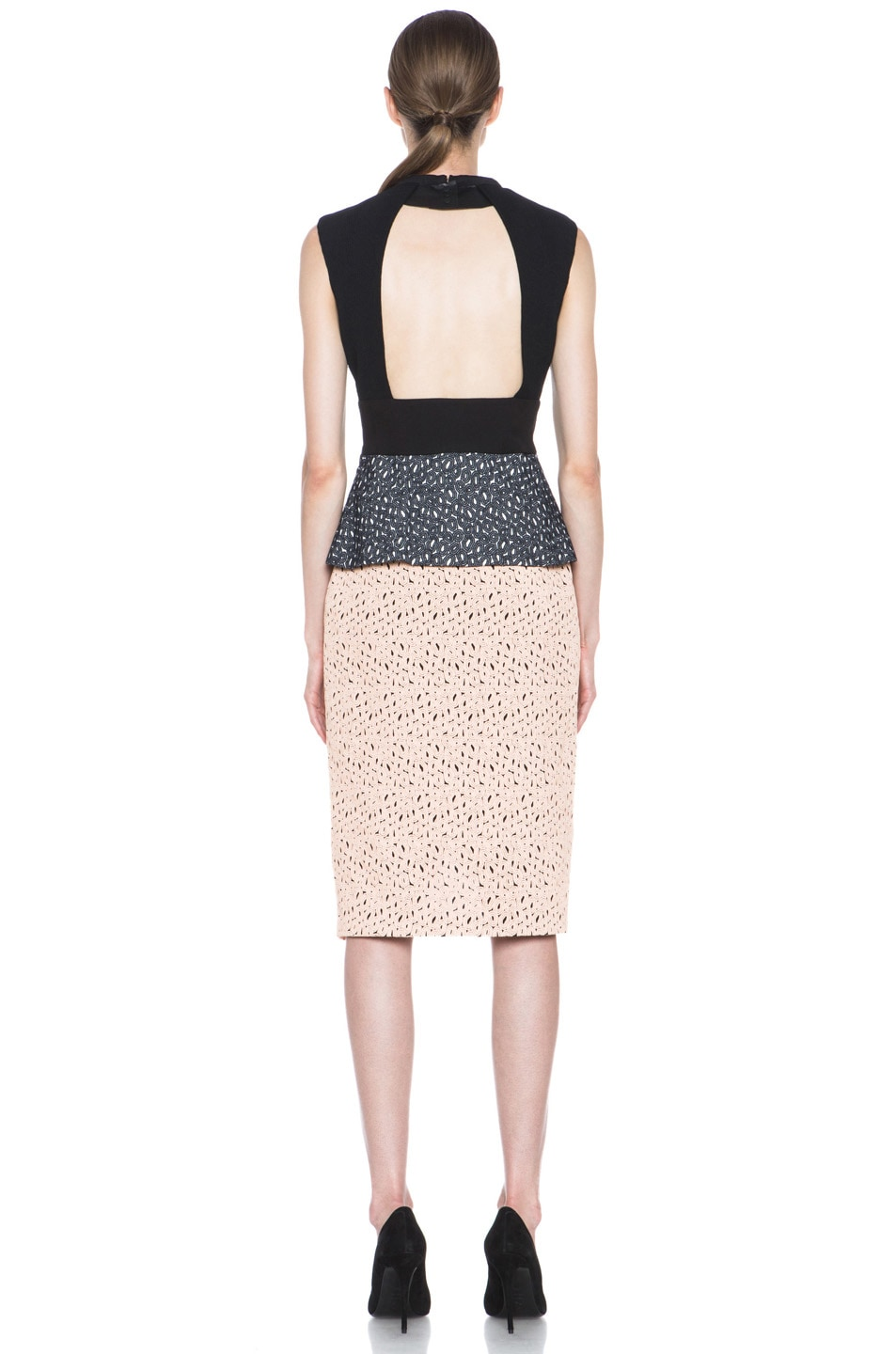 Image 4 of Proenza Schouler Irregular Lace Peplum Dress in Peach & Cream