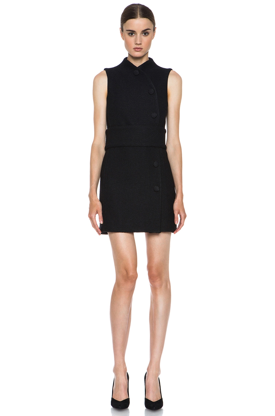 Image 1 of Proenza Schouler Boucle Viscose-Blend Wrap Dress in Black