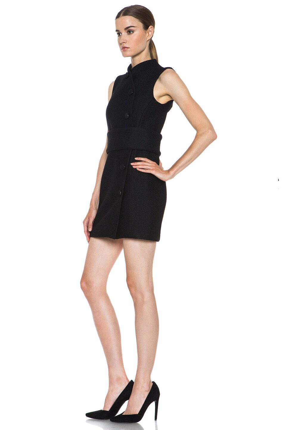 Image 2 of Proenza Schouler Boucle Viscose-Blend Wrap Dress in Black