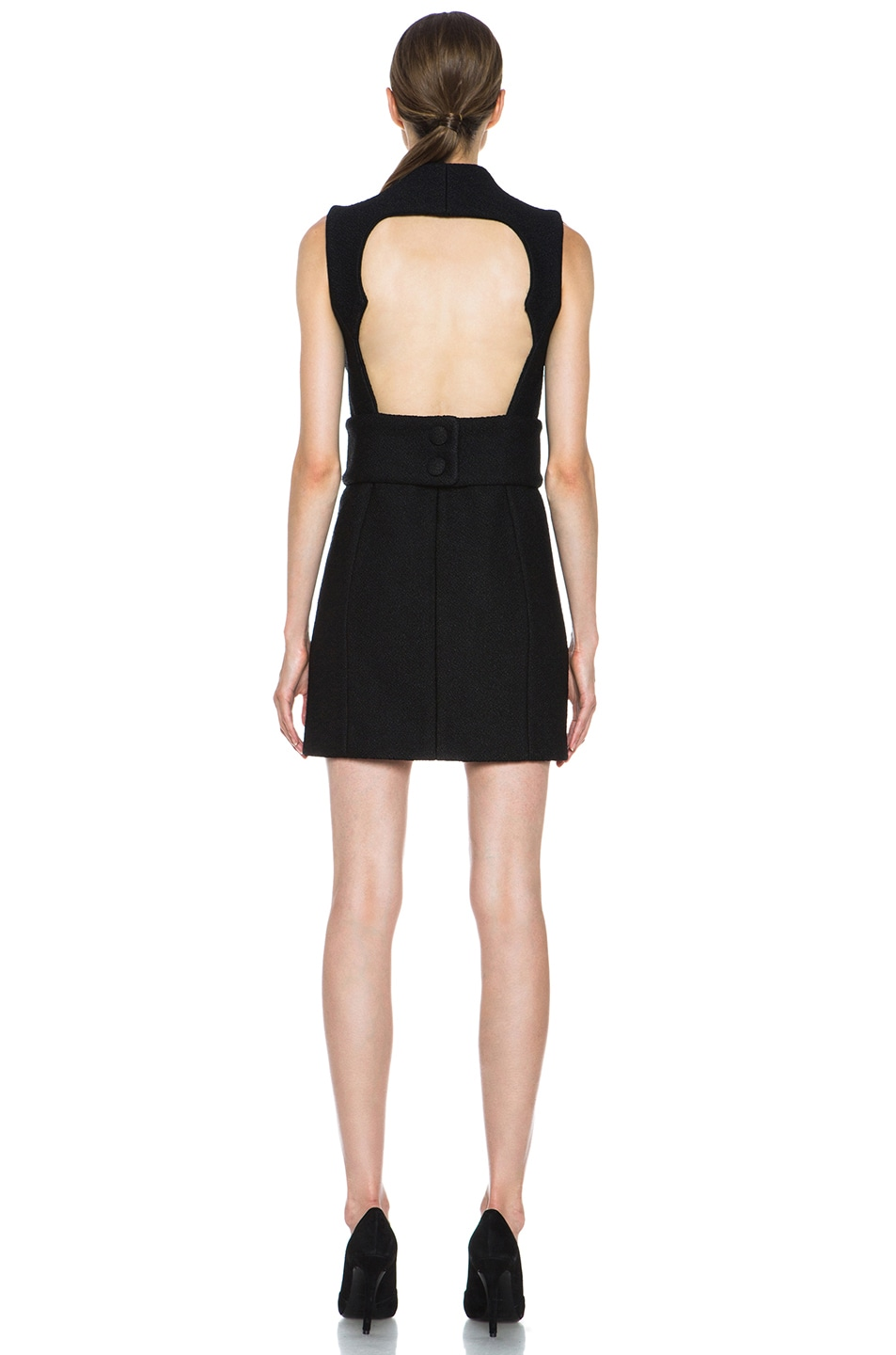 Image 4 of Proenza Schouler Boucle Viscose-Blend Wrap Dress in Black