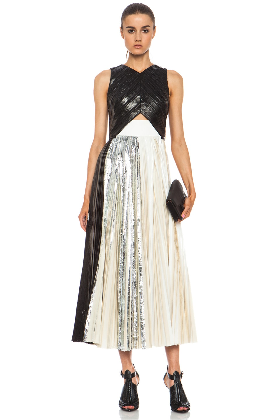 Image 1 of Proenza Schouler Foil Print Poly Pleated Dress in Black, Silver & White