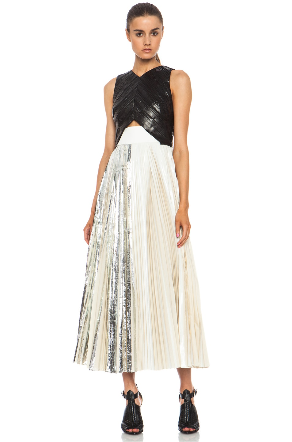 Image 2 of Proenza Schouler Foil Print Poly Pleated Dress in Black, Silver & White
