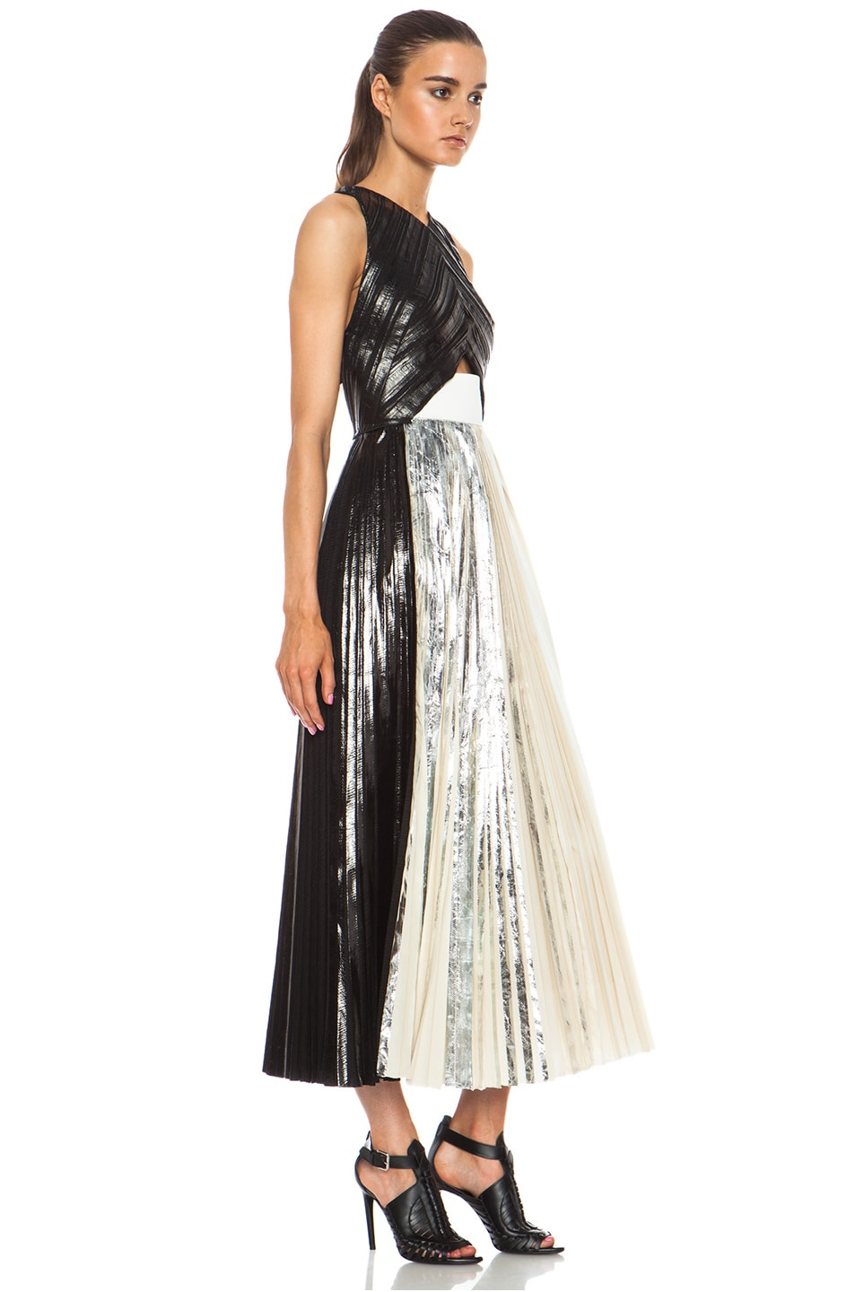 Image 3 of Proenza Schouler Foil Print Poly Pleated Dress in Black, Silver & White