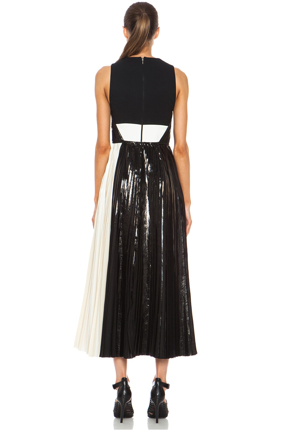 Image 4 of Proenza Schouler Foil Print Poly Pleated Dress in Black, Silver & White