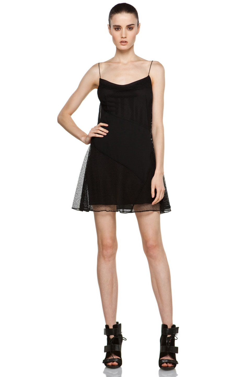Image 1 of Proenza Schouler Cami Patchwork Dress in Black