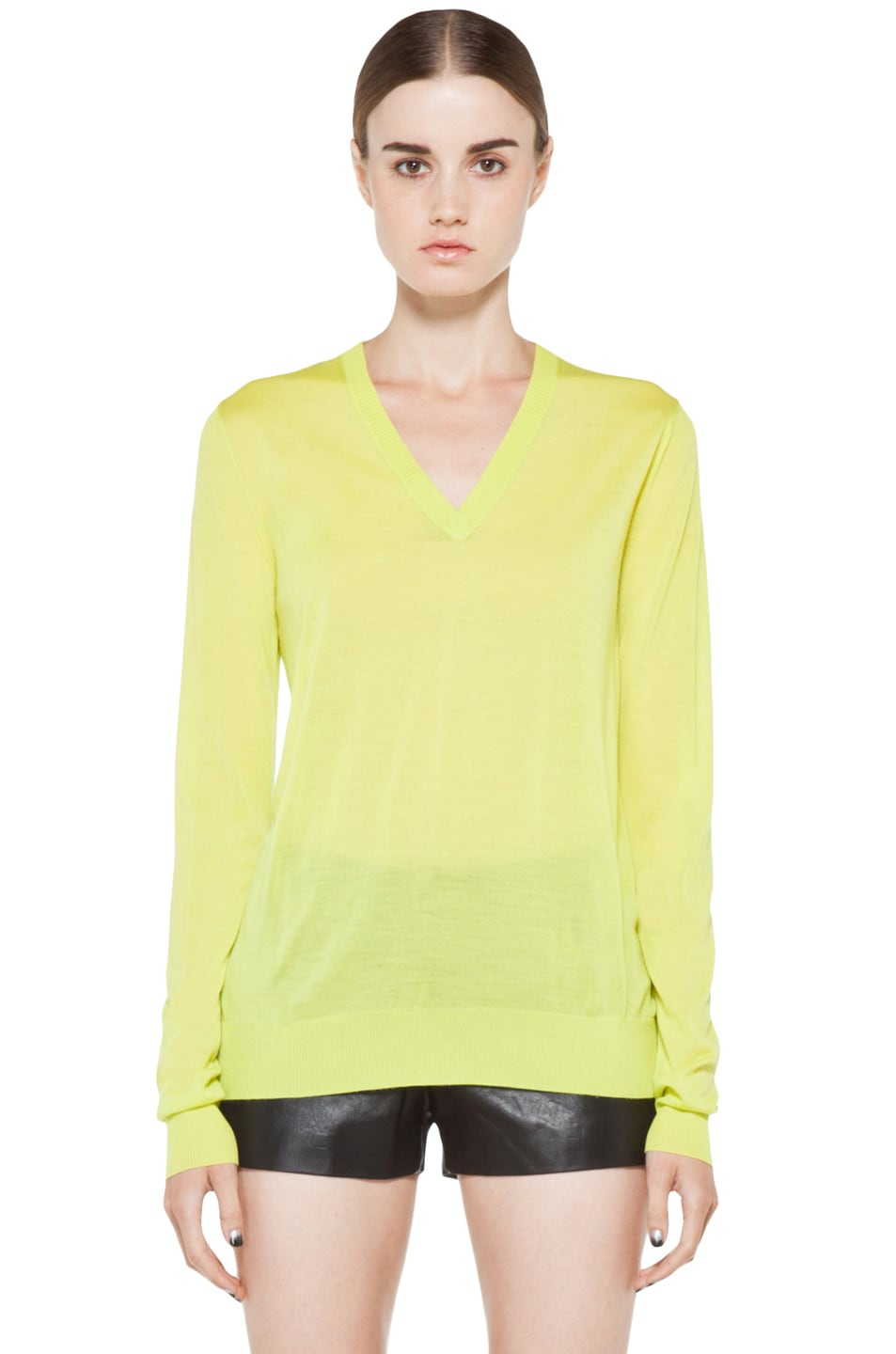 Image 1 of Proenza Schouler Long Sleeve V Neck Pullover in Sulphur
