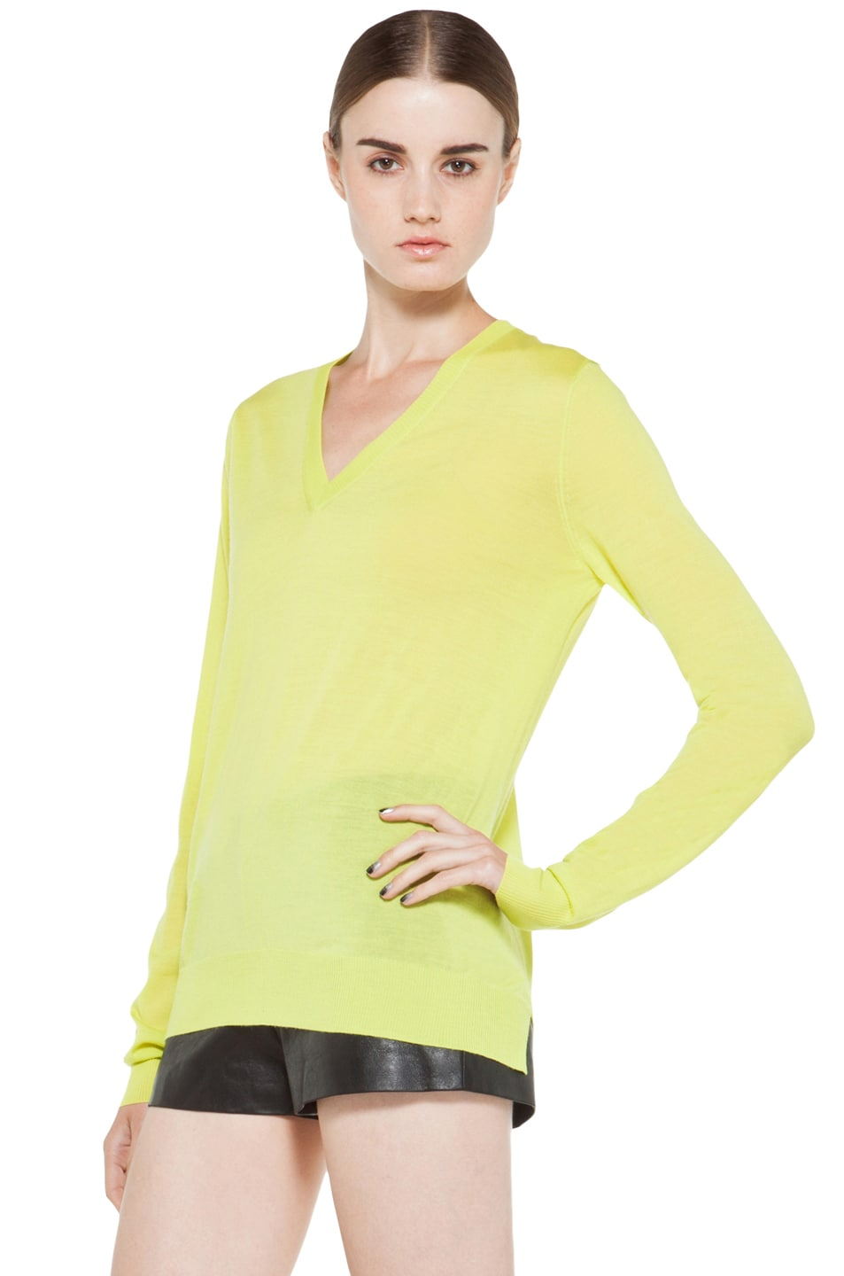 Image 2 of Proenza Schouler Long Sleeve V Neck Pullover in Sulphur