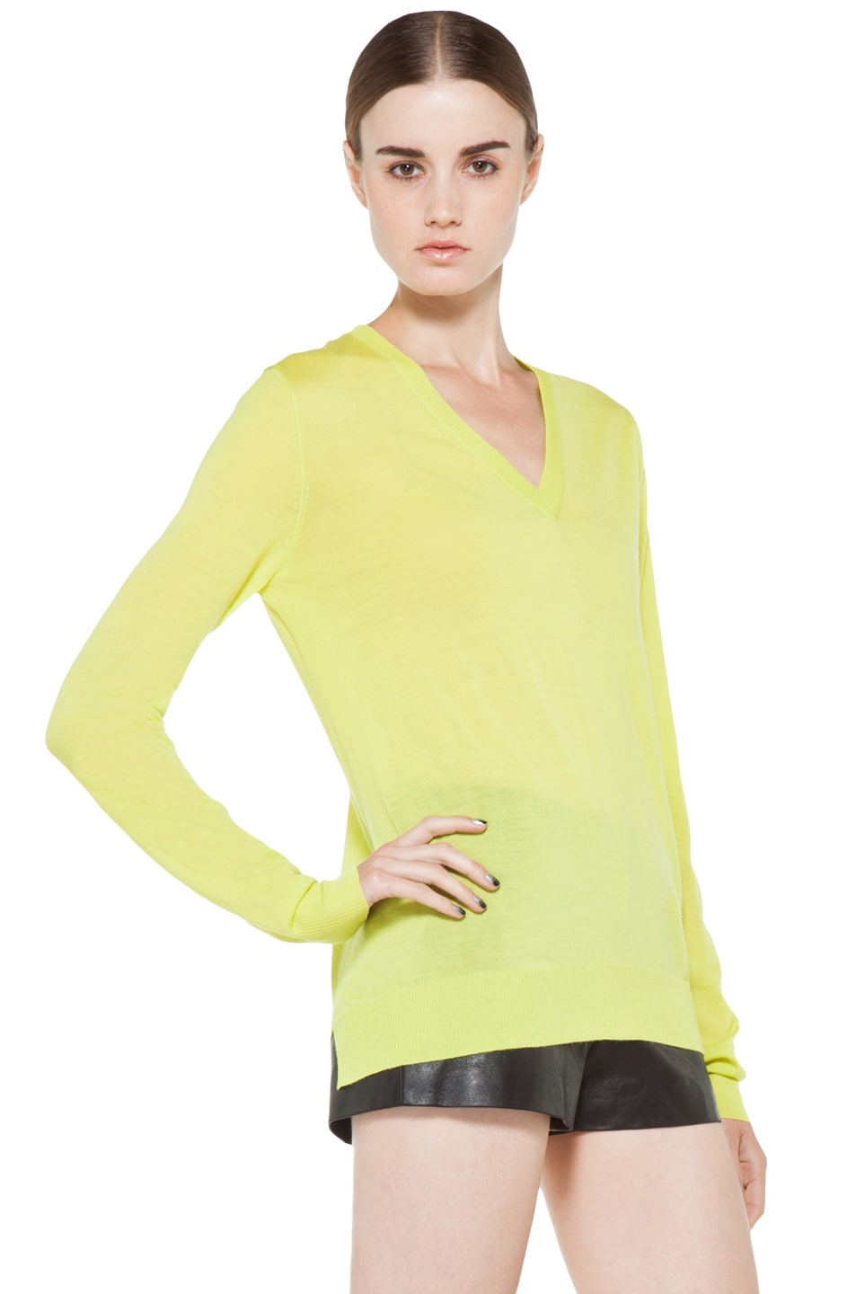 Image 3 of Proenza Schouler Long Sleeve V Neck Pullover in Sulphur