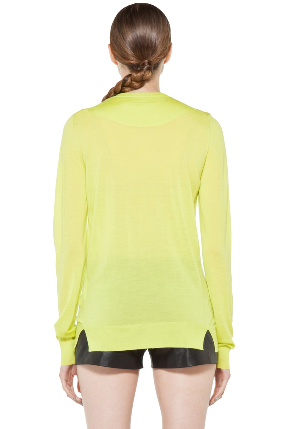Image 4 of Proenza Schouler Long Sleeve V Neck Pullover in Sulphur