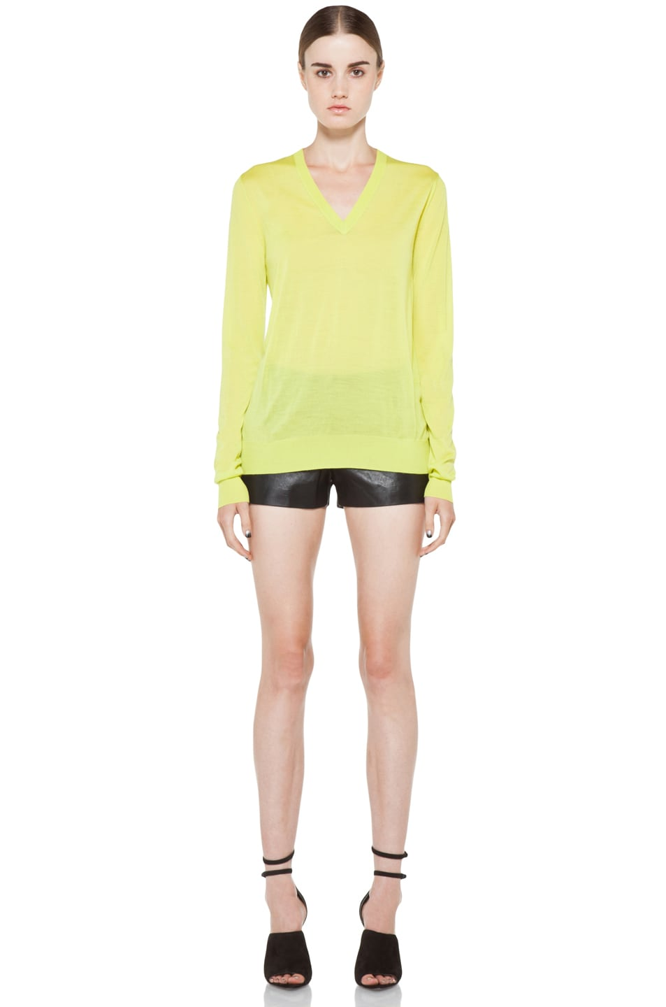 Image 5 of Proenza Schouler Long Sleeve V Neck Pullover in Sulphur