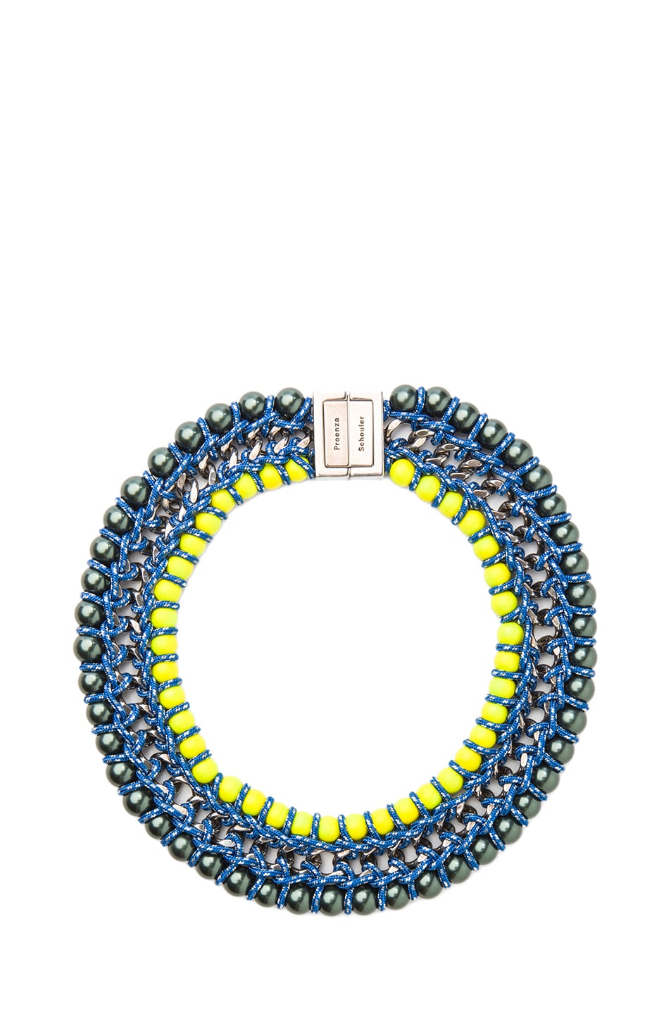 Image 1 of Proenza Schouler Ladder Lacquered Beads Necklace in Maui & Sulphur
