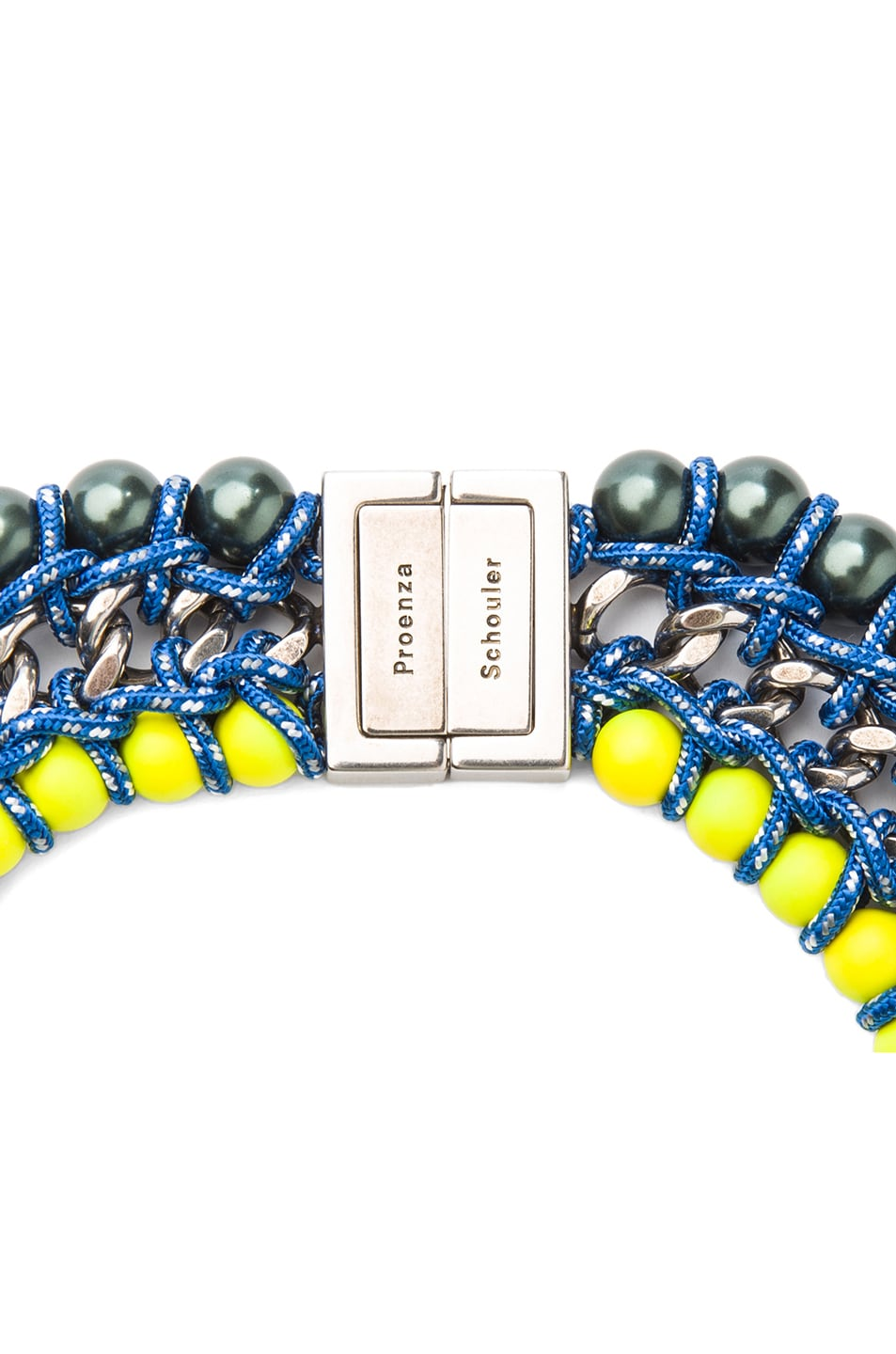 Image 2 of Proenza Schouler Ladder Lacquered Beads Necklace in Maui & Sulphur