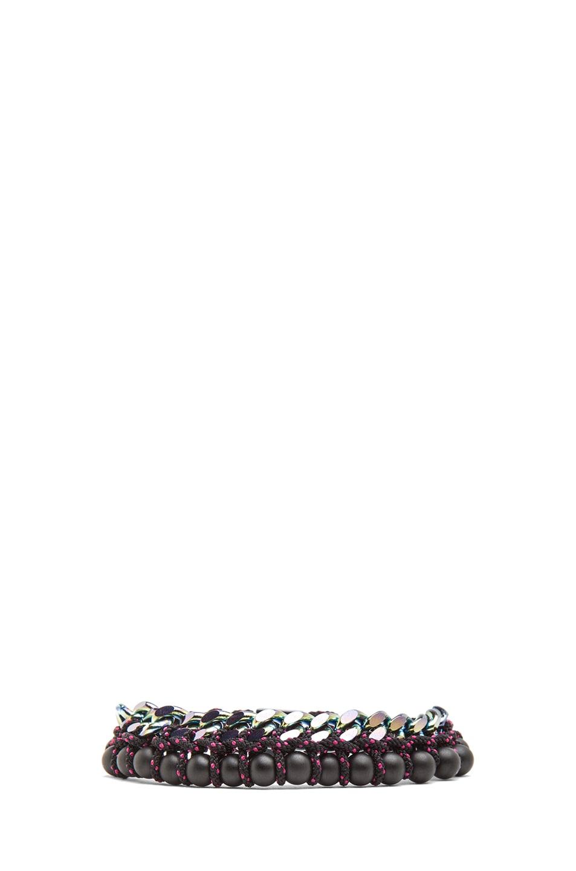 Image 1 of Proenza Schouler Guru Mixed Pearls and Chain Bracelet in Black & Black
