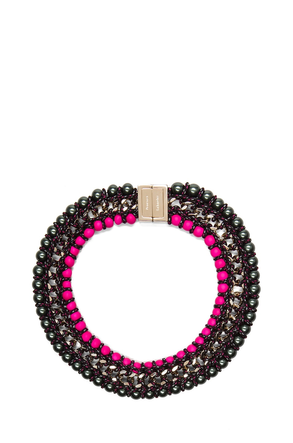 Image 1 of Proenza Schouler Ladder Lacquered Beads Necklace in Black & Hot Pink