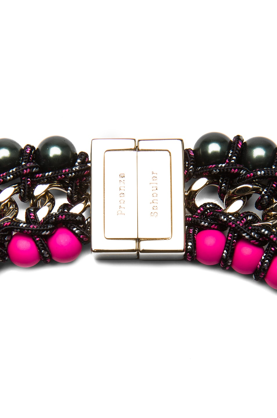 Image 2 of Proenza Schouler Ladder Lacquered Beads Necklace in Black & Hot Pink