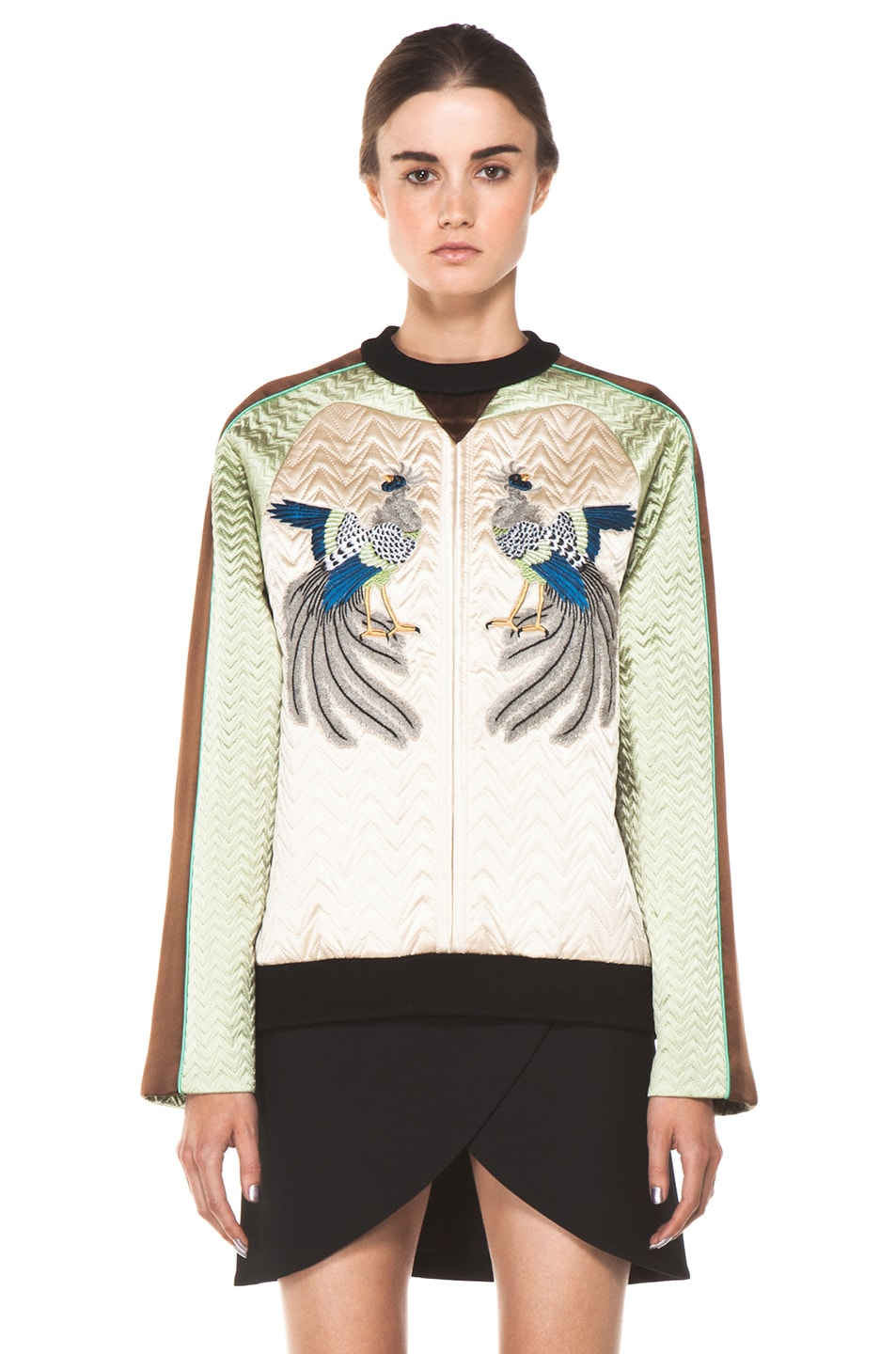 Image 1 of Proenza Schouler Quilted Bird Silk Sweatshirt in Bone