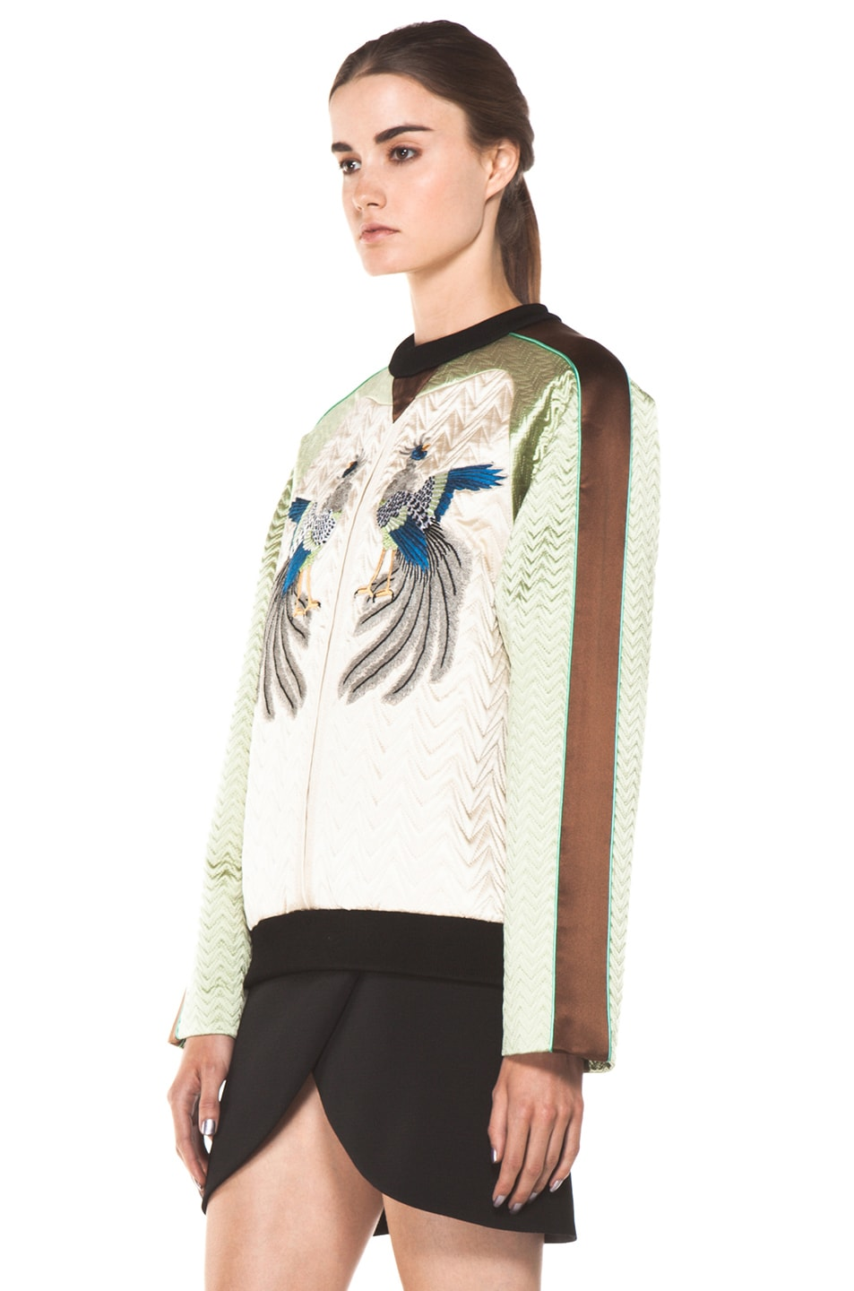 Image 2 of Proenza Schouler Quilted Bird Silk Sweatshirt in Bone