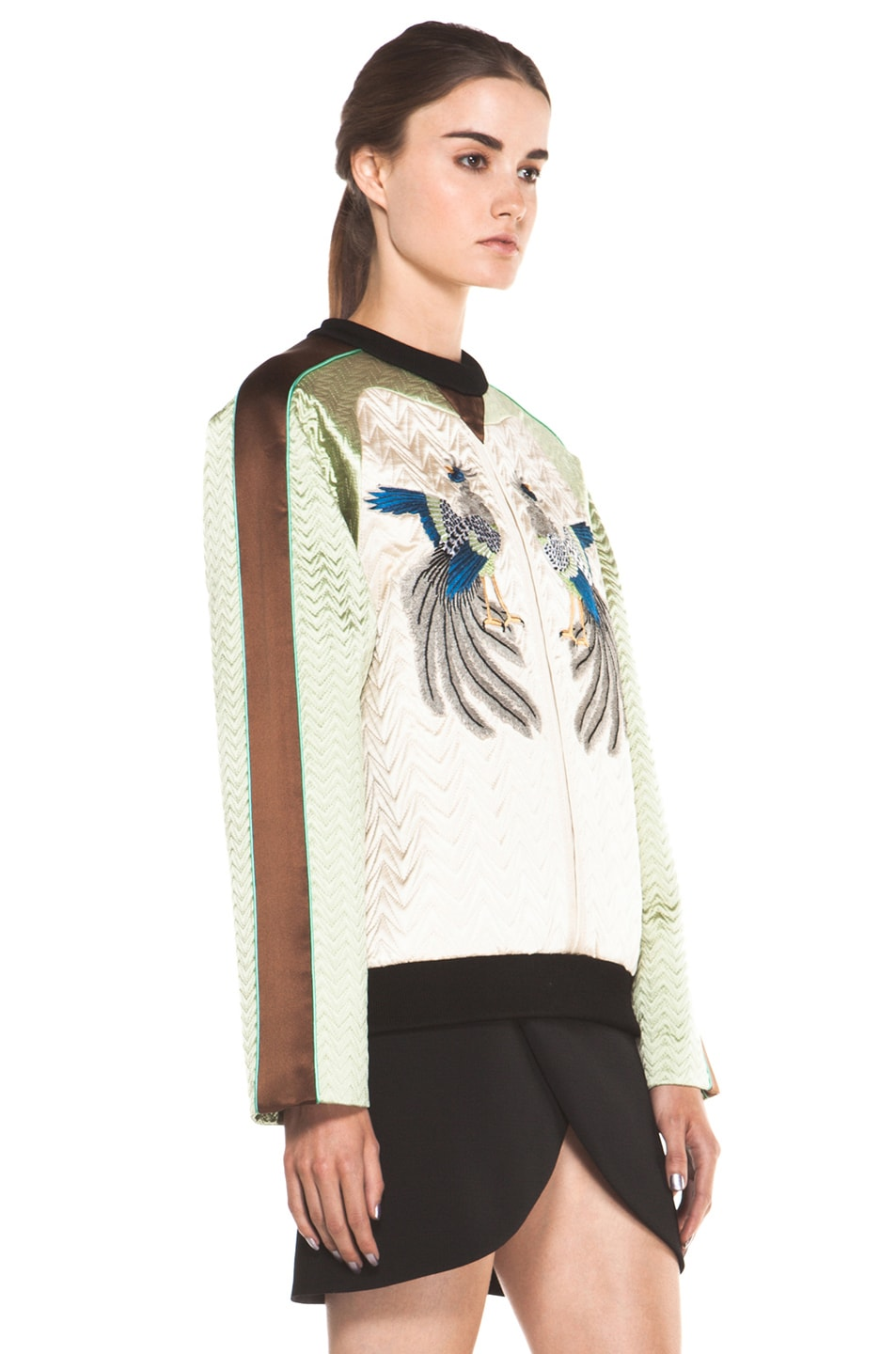 Image 3 of Proenza Schouler Quilted Bird Silk Sweatshirt in Bone