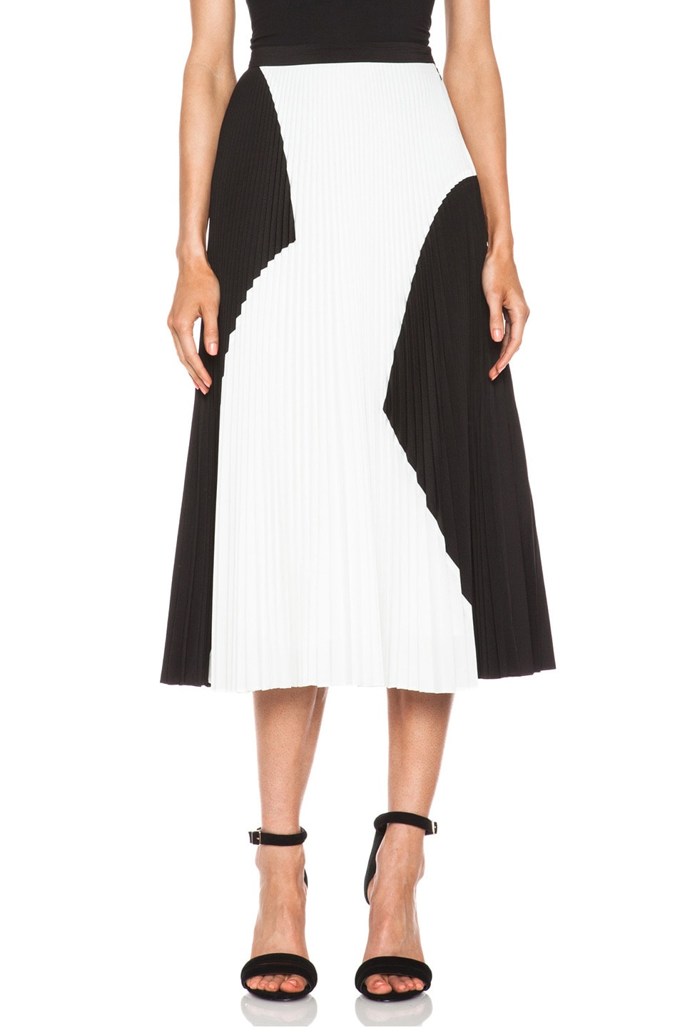 Image 1 of Proenza Schouler Pleated Poly Skirt in Black & White