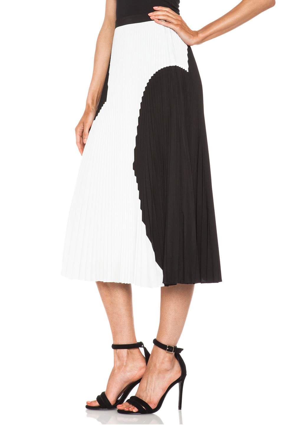 Image 2 of Proenza Schouler Pleated Poly Skirt in Black & White