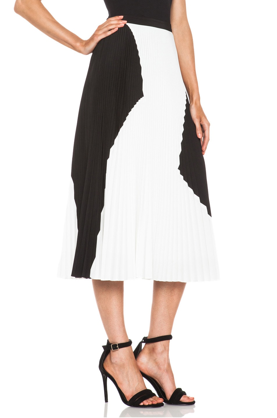 Image 3 of Proenza Schouler Pleated Poly Skirt in Black & White