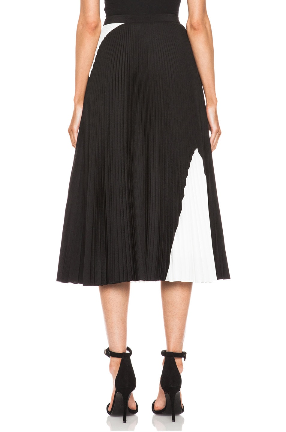 Image 4 of Proenza Schouler Pleated Poly Skirt in Black & White