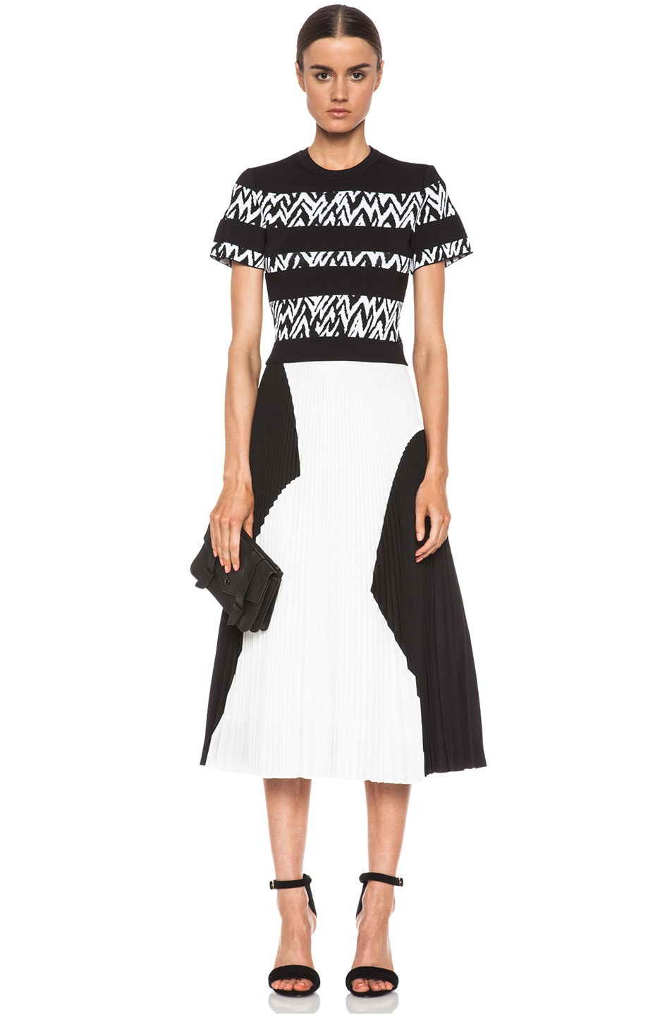 Image 5 of Proenza Schouler Pleated Poly Skirt in Black & White
