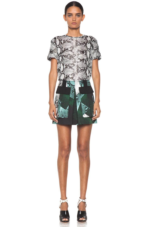 Image 5 of Proenza Schouler Snake Print Pocket Skirt in Aqua