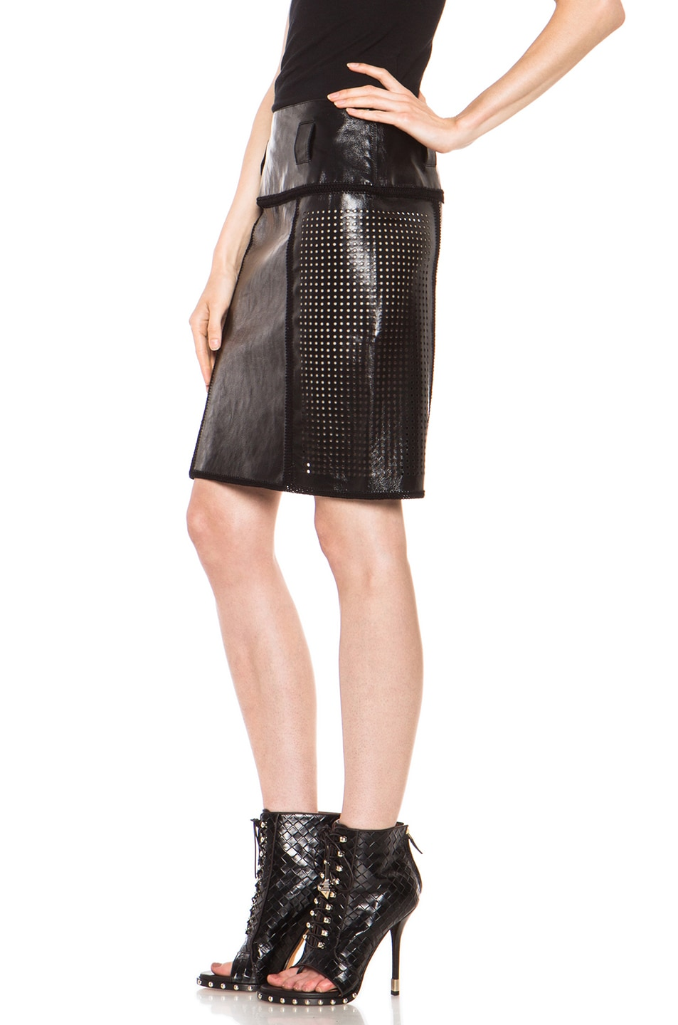 Image 2 of Proenza Schouler Plastic Leather Crochet Straight Skirt in Black