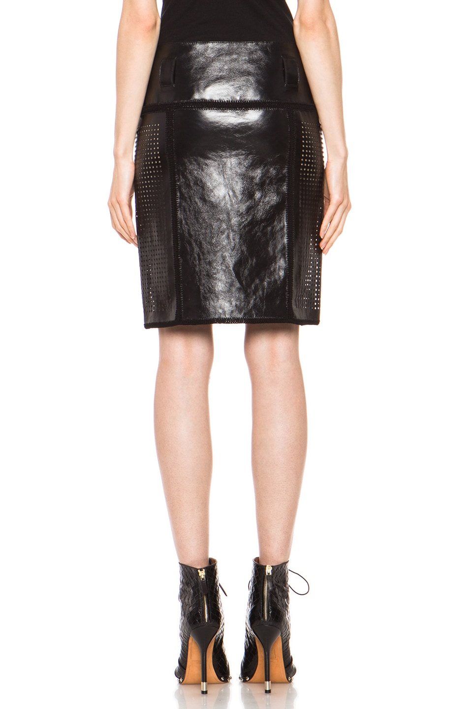 Image 4 of Proenza Schouler Plastic Leather Crochet Straight Skirt in Black