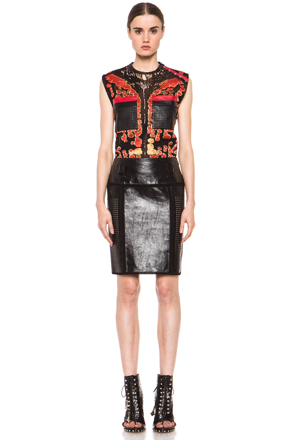 Image 5 of Proenza Schouler Plastic Leather Crochet Straight Skirt in Black