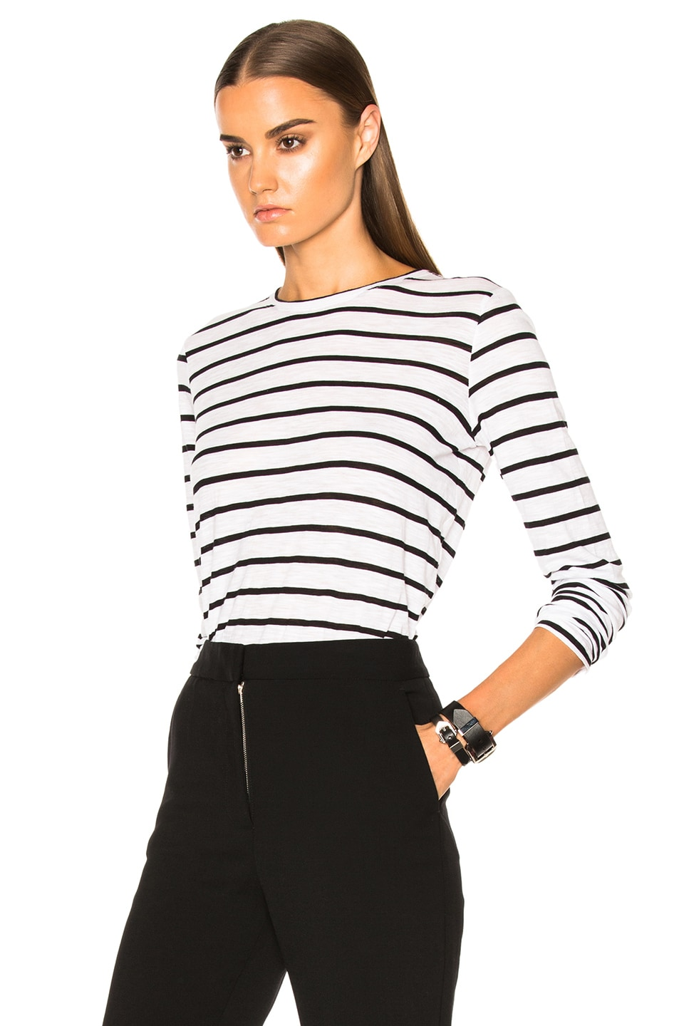 Image 2 of Proenza Schouler Tissue Jersey Long Sleeve Tee in Black & White Stripe