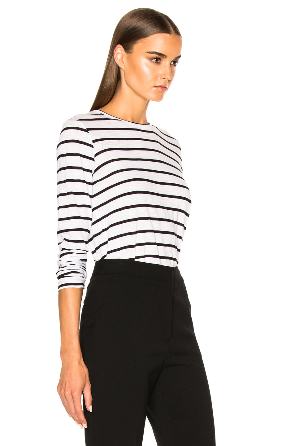 Image 3 of Proenza Schouler Tissue Jersey Long Sleeve Tee in Black & White Stripe
