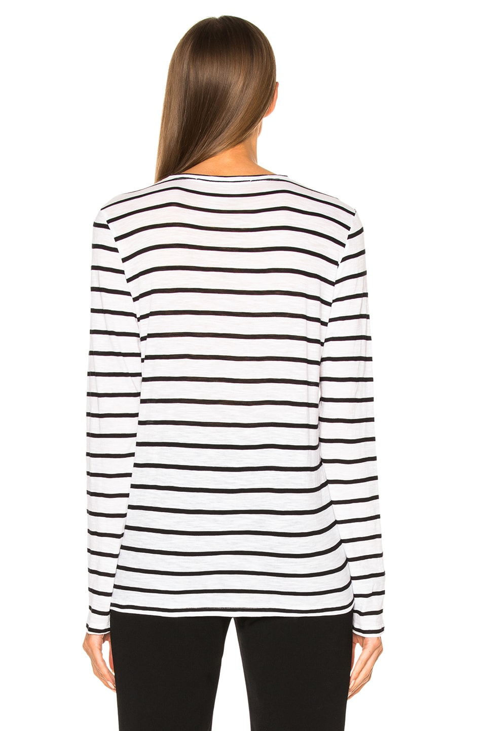 Image 4 of Proenza Schouler Tissue Jersey Long Sleeve Tee in Black & White Stripe