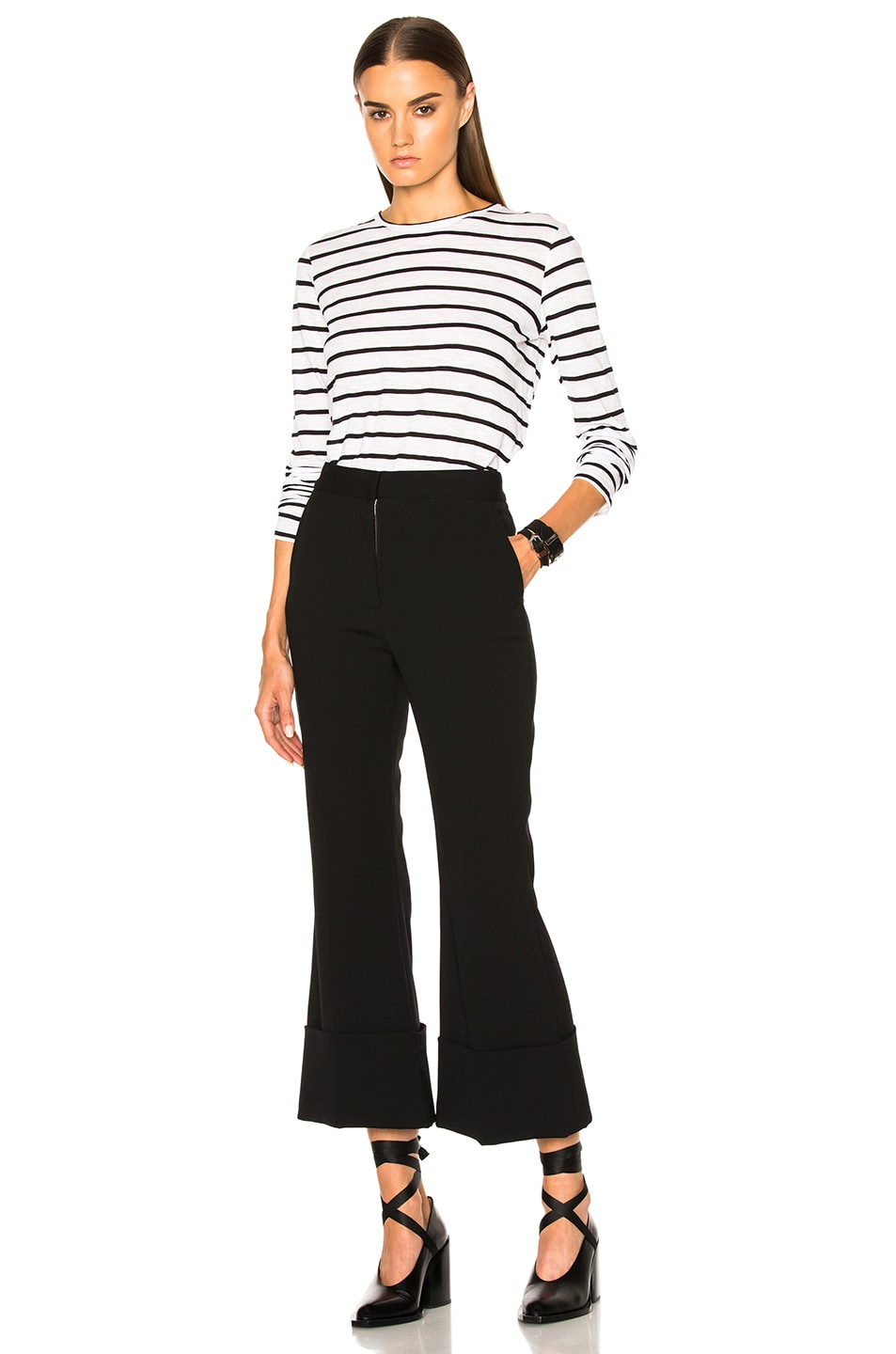 Image 5 of Proenza Schouler Tissue Jersey Long Sleeve Tee in Black & White Stripe