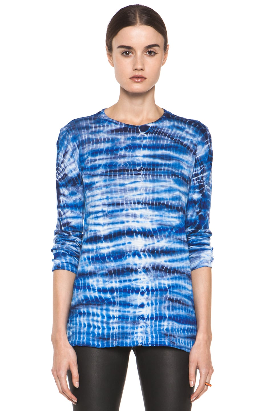 Image 1 of Proenza Schouler Tie Dye Long Sleeve Tee in Blue & Navy