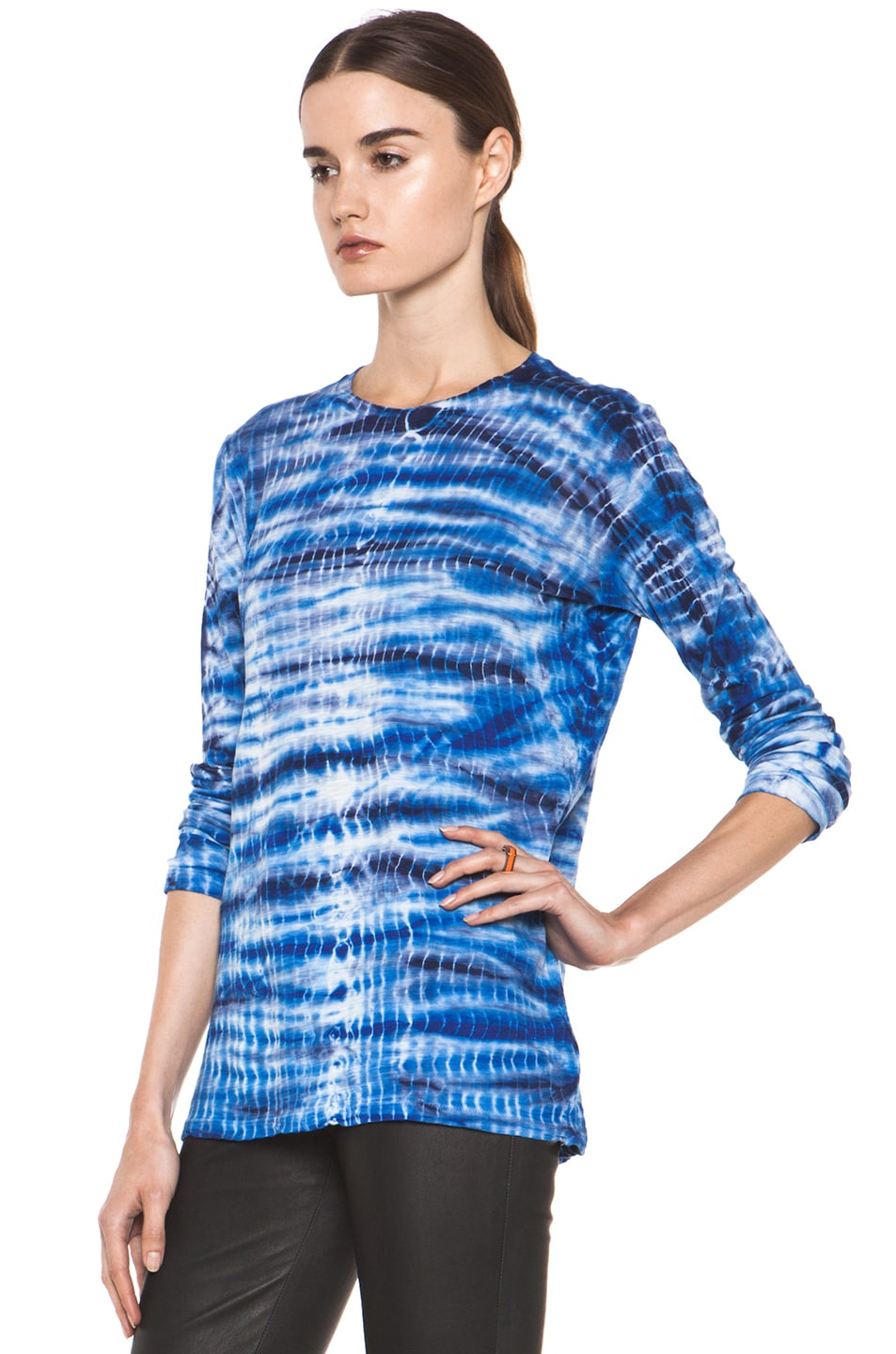 Image 2 of Proenza Schouler Tie Dye Long Sleeve Tee in Blue & Navy