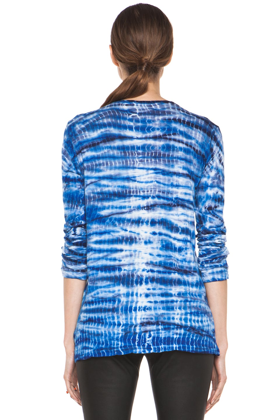 Image 4 of Proenza Schouler Tie Dye Long Sleeve Tee in Blue & Navy
