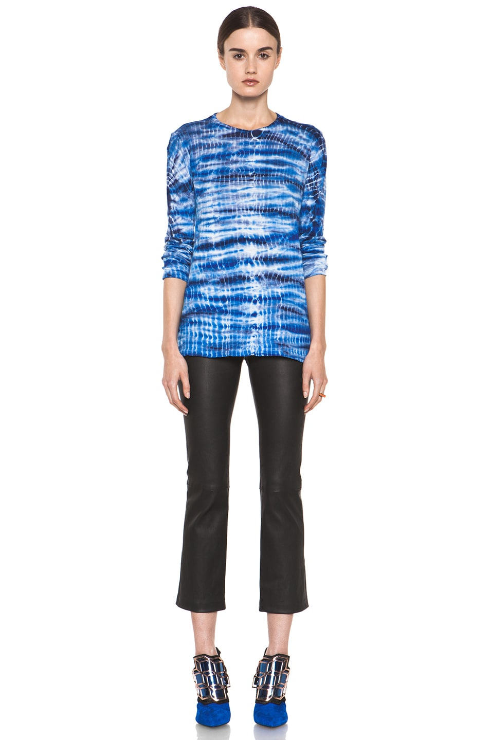 Image 6 of Proenza Schouler Tie Dye Long Sleeve Tee in Blue & Navy