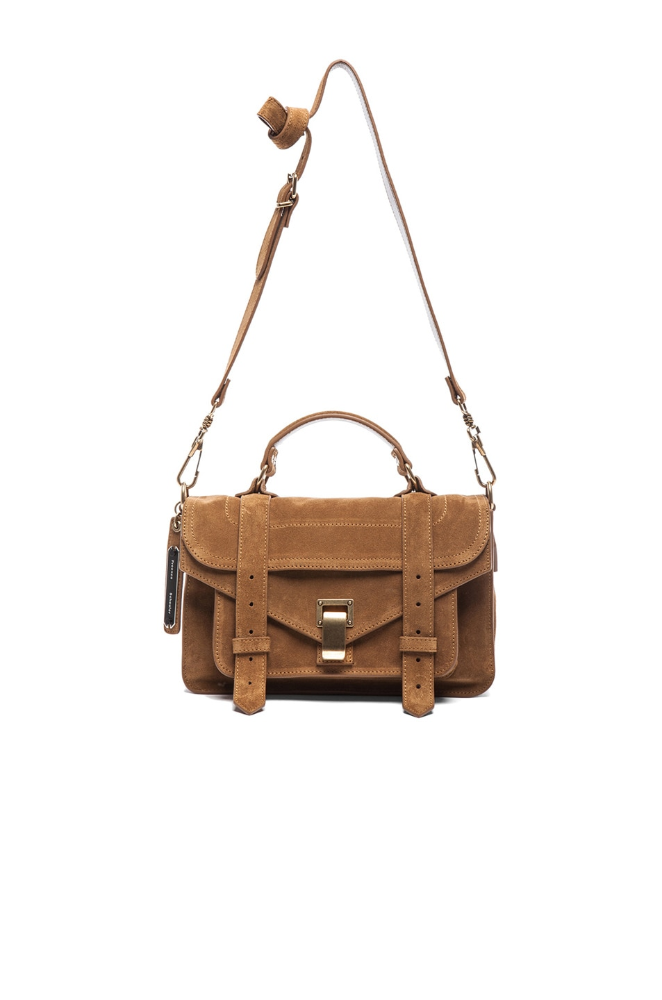 Image 6 of Proenza Schouler Tiny PS1 Suede in Tobacco