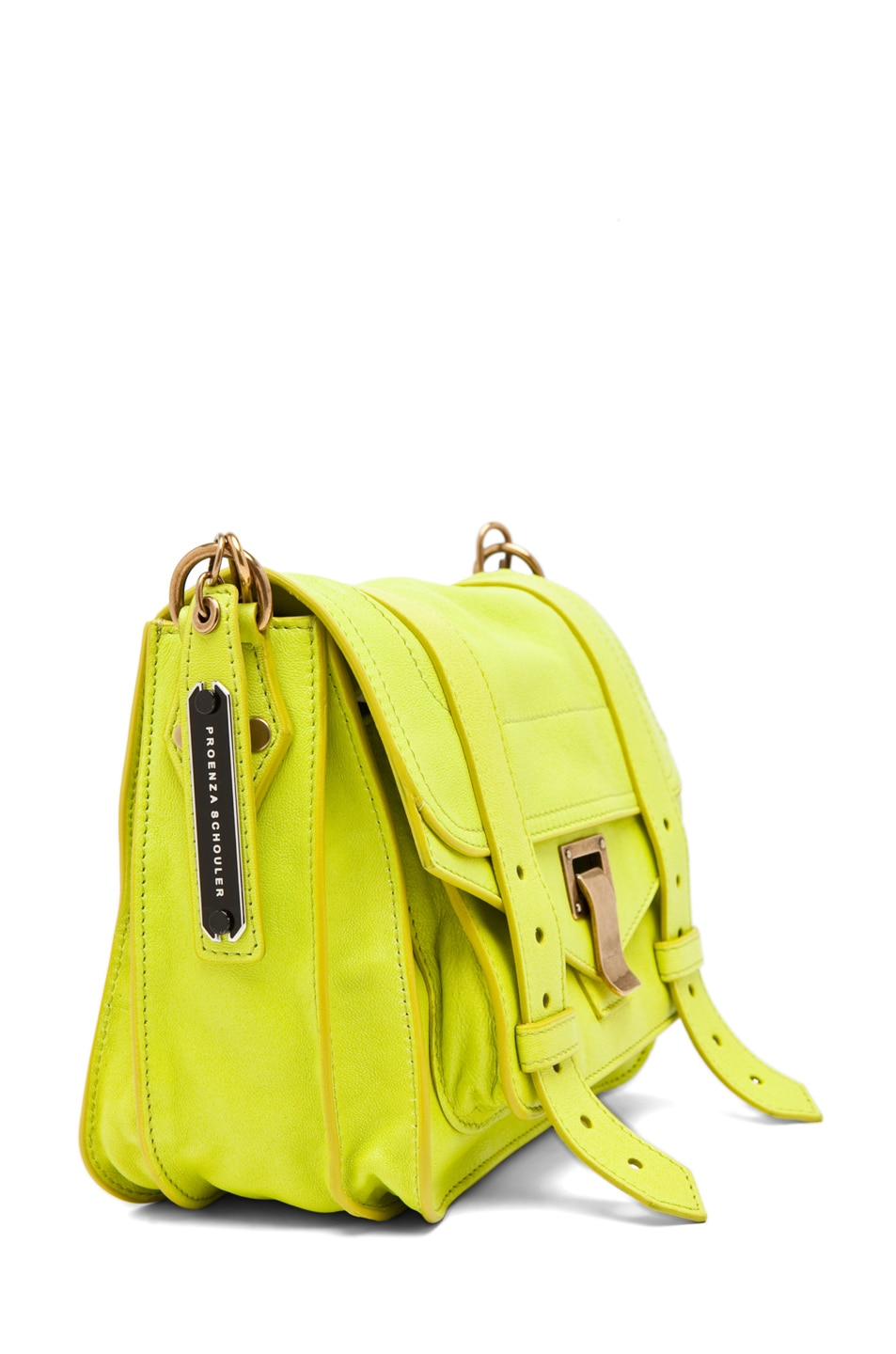 Image 3 of Proenza Schouler PS1 Pouch Leather in Citron