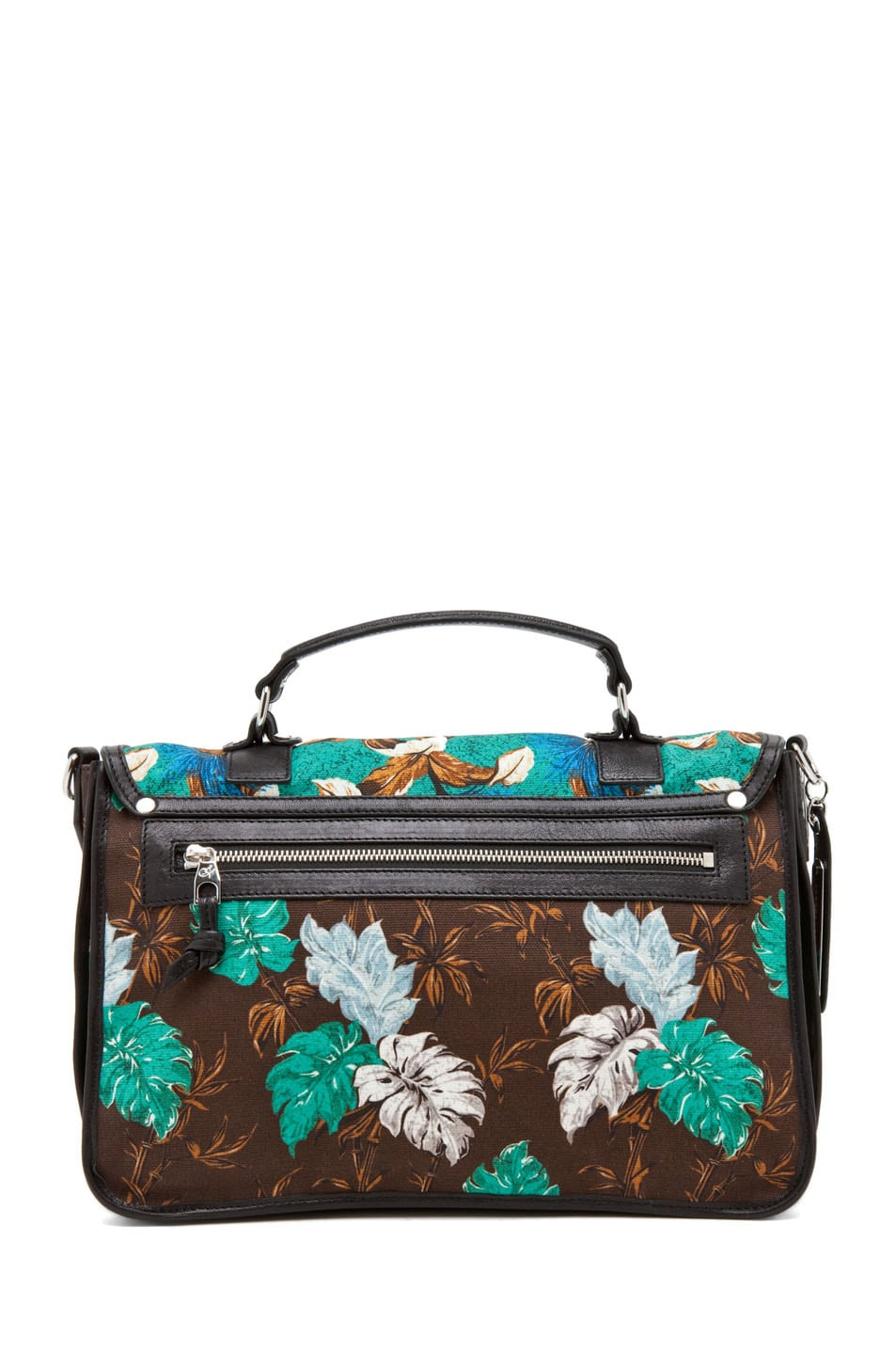 Image 2 of Proenza Schouler PS1 Medium Printed Floral Canvas in Sea Green
